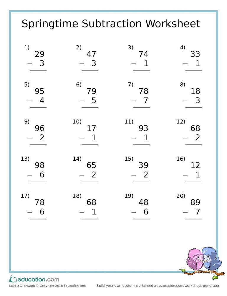Springtime Subtraction Worksheet
