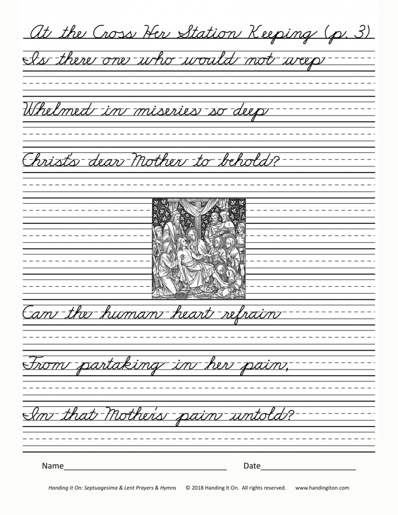 Sample Handwriting page from Handing It On