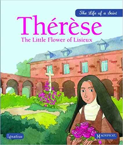 Illustrated picture of St. Therese in front of the Carmel of Lisieux